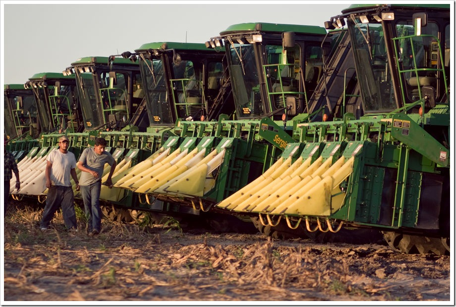 John Deere cotton pickers in South Texas