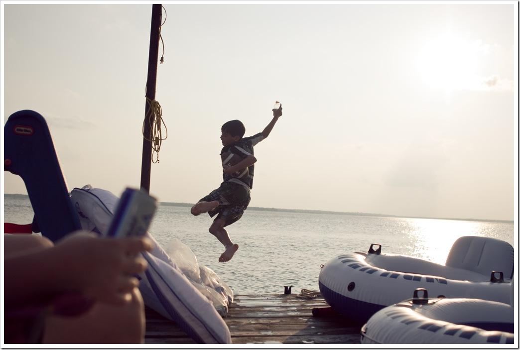 Lake : Jackson jumping off the dock