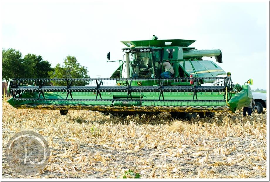 John Deere combine grain harvest